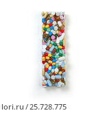 Купить «Letter I. Set of alphabet of medicine pills, capsules, tablets and blisters isolated on white.», фото № 25728775, снято 19 июня 2019 г. (c) Maksym Yemelyanov / Фотобанк Лори