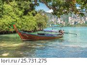 Купить «Королевство Таиланд. Традиционная тайская длиннохвостая моторная лодка — лонгтейл у берега. Провинция Краби, полуостров Рейли, пляж Рейли Вест (Railay West Beach)», фото № 25731275, снято 28 января 2017 г. (c) Владимир Сергеев / Фотобанк Лори
