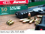 Купить «Пистолет и патроны», фото № 25737435, снято 28 марта 2020 г. (c) Михаил Михин / Фотобанк Лори