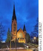 Купить «Церковь Архангела Михаила в Турку вечером, Финляндия», фото № 25738827, снято 2 марта 2017 г. (c) Михаил Марковский / Фотобанк Лори