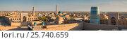 Хива, Узбекистан. Панорама старого города, крепость Ичан Кала, фото № 25740659, снято 21 октября 2016 г. (c) Юлия Бабкина / Фотобанк Лори