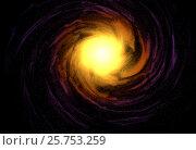 Купить «Spiral orange galaxy in space top front view 3d illustration», иллюстрация № 25753259 (c) Евгений Забугин / Фотобанк Лори
