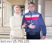 Купить «Ordinary husband and wife are walking together», фото № 25755235, снято 19 января 2020 г. (c) Яков Филимонов / Фотобанк Лори