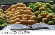 Купить «Boat with mango on floating market in Thailand», видеоролик № 25762939, снято 24 февраля 2017 г. (c) Михаил Коханчиков / Фотобанк Лори