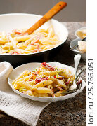 Penne with Leeks and Speck. Стоковое фото, фотограф Зоряна Ивченко / Фотобанк Лори