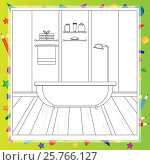 Bathroom interior - Coloring book. Editable vector illustration. Стоковая иллюстрация, иллюстратор Наталия Кречко / Фотобанк Лори