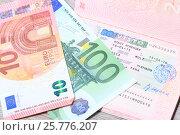 Купить «Шенгенская виза на странице паспорта и деньги», эксклюзивное фото № 25776207, снято 17 марта 2017 г. (c) Яна Королёва / Фотобанк Лори
