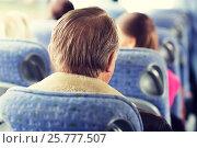 Купить «close up of senior man sitting in travel bus», фото № 25777507, снято 21 октября 2015 г. (c) Syda Productions / Фотобанк Лори
