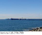 Купить «Маяки на пирсе, морской порт Имеретинский, Адлер», фото № 25778799, снято 14 января 2017 г. (c) DiS / Фотобанк Лори