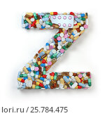Купить «Letter Z. Set of alphabet of medicine pills, capsules, tablets and blisters isolated on white.», фото № 25784475, снято 19 июня 2019 г. (c) Maksym Yemelyanov / Фотобанк Лори