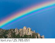 Купить «Rainbow over Geology Vista, with Granite spires form a jagged edge to mountain top ridges. Santa Catalina Mountains, Coronado National Forest, Arizona, USA, September.», фото № 25785051, снято 19 августа 2018 г. (c) Nature Picture Library / Фотобанк Лори