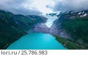 Купить «Svartisen Glacier in Norway Aerial view.», видеоролик № 25786983, снято 14 марта 2017 г. (c) Андрей Армягов / Фотобанк Лори