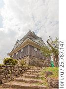 Реконструированный в 1968 г. донжон замка Этидзэн Оно (основан в 1576 г.), г. Оно, Япония, фото № 25787147, снято 2 августа 2016 г. (c) Иван Марчук / Фотобанк Лори