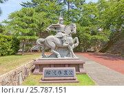 Памятник полководцу Юки (Мацудайра) Хидэясу на территории замка Фукуи, г. Фукуи, Япония, фото № 25787151, снято 2 августа 2016 г. (c) Иван Марчук / Фотобанк Лори