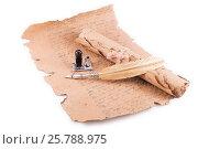 Купить «Vintage golden pen and ancient manuscripts», фото № 25788975, снято 4 марта 2015 г. (c) Владимир Ковальчук / Фотобанк Лори