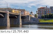 Купить «Tver urban landscape with bridge and church», фото № 25791443, снято 25 июля 2015 г. (c) Андрей Андронов / Фотобанк Лори