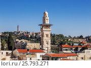 Вид на старый Иерусалим и минарет мечети  Аль-Аксы, фото № 25793271, снято 5 декабря 2015 г. (c) Наталья Волкова / Фотобанк Лори