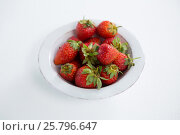 Купить «Close-up of fresh strawberries in bowl», фото № 25796647, снято 19 декабря 2016 г. (c) Wavebreak Media / Фотобанк Лори