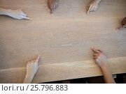 Купить «Creative business team pointing to a blank copy space on table», фото № 25796883, снято 27 ноября 2016 г. (c) Wavebreak Media / Фотобанк Лори