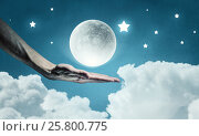 Купить «Moon in hand . Mixed media», фото № 25800775, снято 22 марта 2019 г. (c) Sergey Nivens / Фотобанк Лори