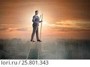 Купить «Businessman walking on stilts - standing out from the crowd», фото № 25801343, снято 23 февраля 2019 г. (c) Elnur / Фотобанк Лори
