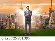Купить «Angel investor concept with businessman with wings», фото № 25801395, снято 20 августа 2018 г. (c) Elnur / Фотобанк Лори