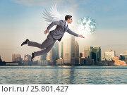 Купить «Angel investor concept with businessman with wings», фото № 25801427, снято 20 августа 2018 г. (c) Elnur / Фотобанк Лори