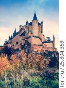Купить «View of Alcazar of Segovia in autumn», фото № 25804359, снято 16 ноября 2014 г. (c) Яков Филимонов / Фотобанк Лори