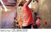Купить «young woman exercising at indoor climbing gym wall», видеоролик № 25804559, снято 2 марта 2017 г. (c) Syda Productions / Фотобанк Лори