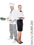 Купить «woman and man working team of the restaurant on a white background posing», фото № 25805263, снято 20 июня 2016 г. (c) Константин Лабунский / Фотобанк Лори