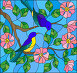 Illustration in stained glass style with two two bright birds on the branches of blooming wild rose on a background sky, иллюстрация № 25805395 (c) Наталья Загорий / Фотобанк Лори