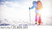 Купить «Skier walking on the slope with ski», фото № 25809391, снято 18 августа 2019 г. (c) Wavebreak Media / Фотобанк Лори