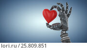 Купить «Composite image of 3d image of cyborg with heard shape decoration 3d», иллюстрация № 25809851 (c) Wavebreak Media / Фотобанк Лори
