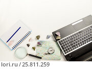 Workplace with laptop, minerals, magnifying glass, map, notebook. Стоковое фото, фотограф Елена Абдураманова / Фотобанк Лори