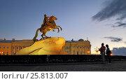 """Памятник Петру I (""""Медный всадник"""") на Сенатской площади ночью. Санкт-Петербург, фото № 25813007, снято 5 сентября 2016 г. (c) A Челмодеев / Фотобанк Лори"""