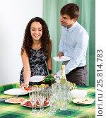 Купить «Man and woman preparing on the table», фото № 25814783, снято 18 сентября 2019 г. (c) Яков Филимонов / Фотобанк Лори