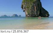 Купить «Landscape with tropical Pranang beach and rocks», видеоролик № 25816367, снято 23 ноября 2016 г. (c) Михаил Коханчиков / Фотобанк Лори