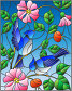 Illustration in stained glass style with two blue jays on the branches of blooming wild rose on a background sky, иллюстрация № 25823399 (c) Наталья Загорий / Фотобанк Лори