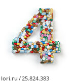 Купить «Number 4 four. Set of alphabet of medicine pills, capsules, tablets and blisters isolated on white.», фото № 25824383, снято 19 июня 2019 г. (c) Maksym Yemelyanov / Фотобанк Лори