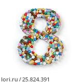 Купить «Number 8 eight. Set of alphabet of medicine pills, capsules, tablets and blisters isolated on white.», фото № 25824391, снято 19 июня 2019 г. (c) Maksym Yemelyanov / Фотобанк Лори