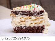Купить «Кусочек домашнего шоколадного бисквитного торта со сливочным кремом крупным планом», фото № 25824975, снято 18 марта 2017 г. (c) Александр Волков / Фотобанк Лори