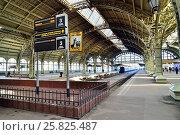 Купить «Информационное табло на платформе междугородного сообщения Витебского вокзала», фото № 25825487, снято 24 марта 2017 г. (c) Максим Мицун / Фотобанк Лори
