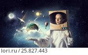 Купить «Dreaming to explore space . Mixed media», фото № 25827443, снято 22 июля 2018 г. (c) Sergey Nivens / Фотобанк Лори
