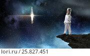 Купить «Dreaming to explore space . Mixed media», фото № 25827451, снято 16 января 2019 г. (c) Sergey Nivens / Фотобанк Лори