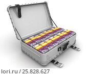 Купить «Чемодан заполненный пачками евро», иллюстрация № 25828627 (c) WalDeMarus / Фотобанк Лори