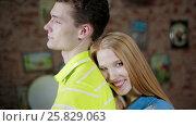 Купить «Woman embracing man and both holding thumbs up», видеоролик № 25829063, снято 10 марта 2017 г. (c) Илья Насакин / Фотобанк Лори
