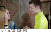 Young couple fooling like children at home. Стоковое видео, видеограф Илья Насакин / Фотобанк Лори