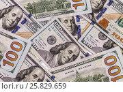 Купить «Фон из 100 долларовых купюр крупным планом», фото № 25829659, снято 25 марта 2017 г. (c) Наталья Волкова / Фотобанк Лори