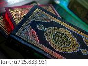 Купить «Священная книга мусульман - Коран лежит на подставке в мечети во время намаза», фото № 25833931, снято 26 марта 2017 г. (c) Николай Винокуров / Фотобанк Лори