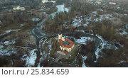Купить «Castle fortress BIP aerial view», видеоролик № 25834659, снято 13 марта 2016 г. (c) Алексей Макаров / Фотобанк Лори